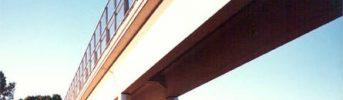 Arco singolo - Sovrappasso a due travi appoggiate su pila centrale ad arco singolo