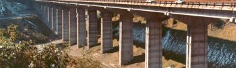 Completed viaduct - the motorway section between Colle Isarco e Brennero